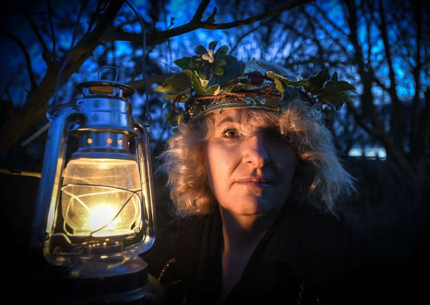Singing locals taking part in the Wassailing event near Green Lane, Stamford. Pictured is the Wassail Queen Robina Hill.
