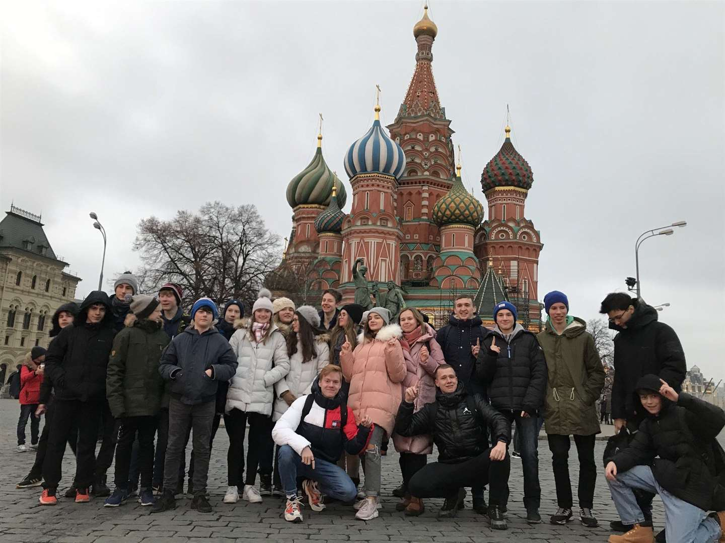 The pupils in Red Square, in front of St Basil's Cathedral, Moscow