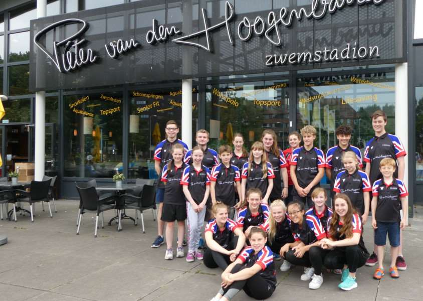 The successful squad wearing their specially designed t-shirts sponsored by Anglian Water at the Netherlands Invitational open meet in Eindhoven.