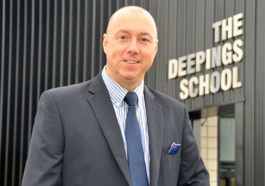 Richard Lord, head teacher of The Deepings School, believes that the exam results for 2017's GCSE and A-Level students is a sign of the school's 'rapid improvement' over a 12-month period. Photo by Tim Wilson. SG220916-127TW.