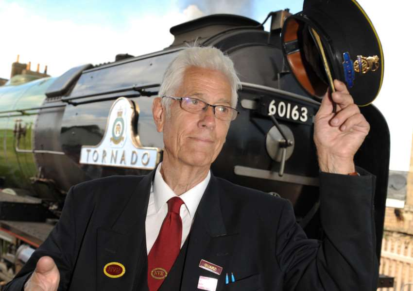 Russ Jenner in front of the Tornado locomotive at Nene Valley Railway. Photo: Chris Lowndes EMN-150109-104606001