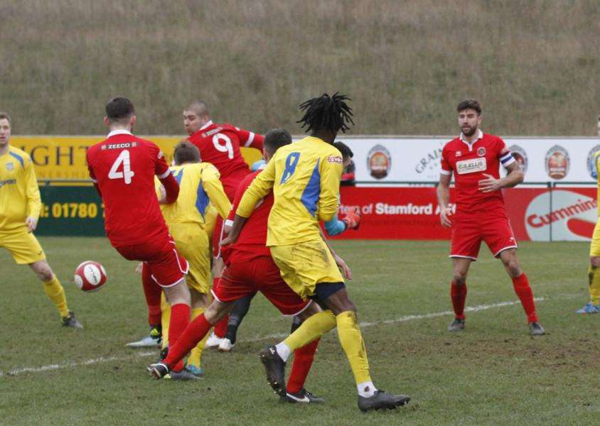 Action from Stamford AFC v Frickley Athletic. Photo: Geoff Atton EMN-160216-093101001