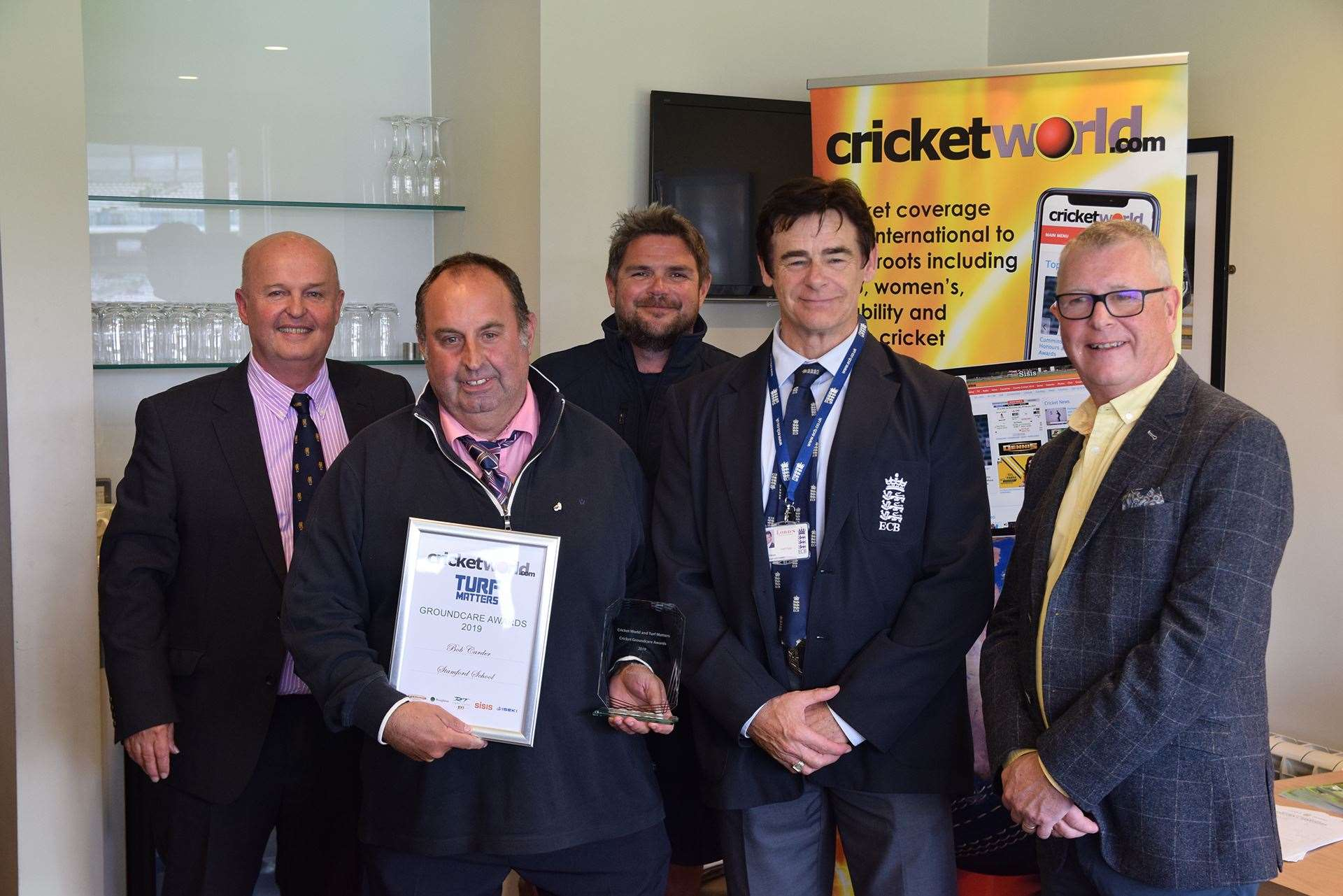 From left to right: Alistair Symondson from Cricket World,Bob Carder, Karl McDermott, MCC head groundsman, Chris Woods, ECB pitch inspector and Scott MacCallum, from Turf Matters