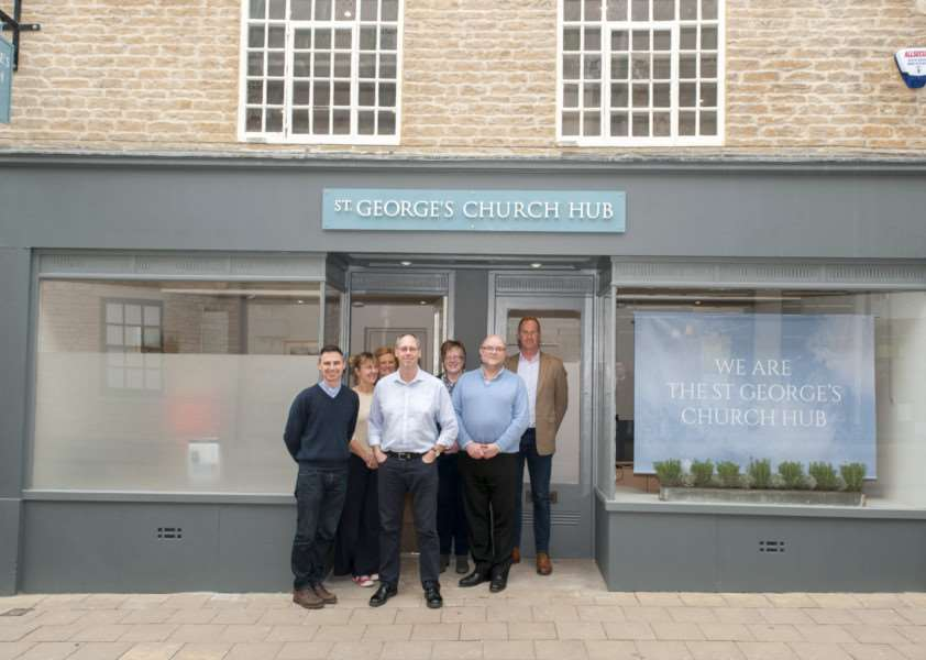 Rev Martyn Taylor, Gilly Franklin, Cathy Whitney, Simon Jary, Alison Davie, Lawrence Davie and Ross Thain pictured outside the new St George's Church Hub