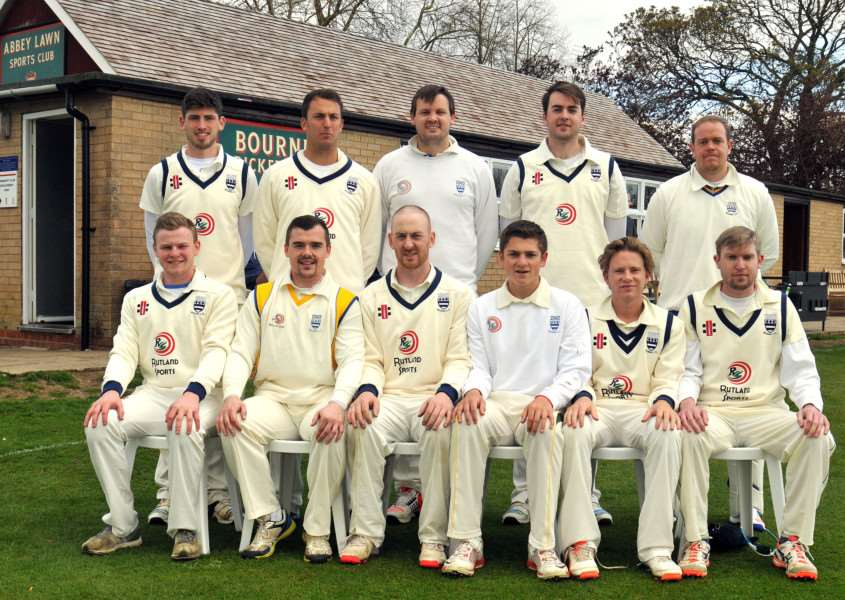 Bourne before their home defeat at the hands of Grantham: (back row, left to right): Ben Collins, Jack Williamson, Jack Berry, Matt Kidd, Carl Wilson, front Archie Stroud, Bob Dunn, Pete Morgan, Ben Woodward, Jordan Temple, Ben Stroud. Photo: Tim Wilson.