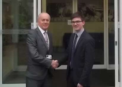 Bourne Academy deputy head boy Ben Jagger (right) with executive head teacher Laurence Reilly. Photo supplied.