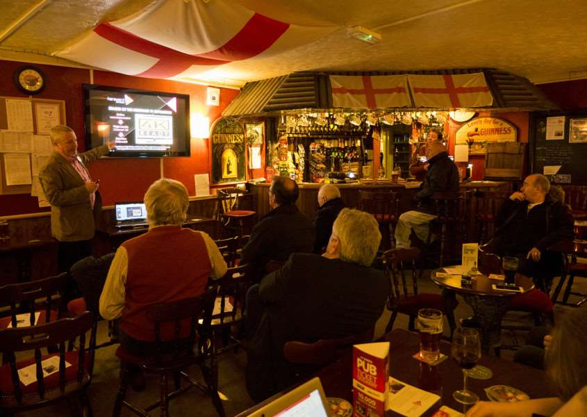 Alex Geairns presents the Hereward TV project to guests at a recent Discovery Evening in the Fenland area.