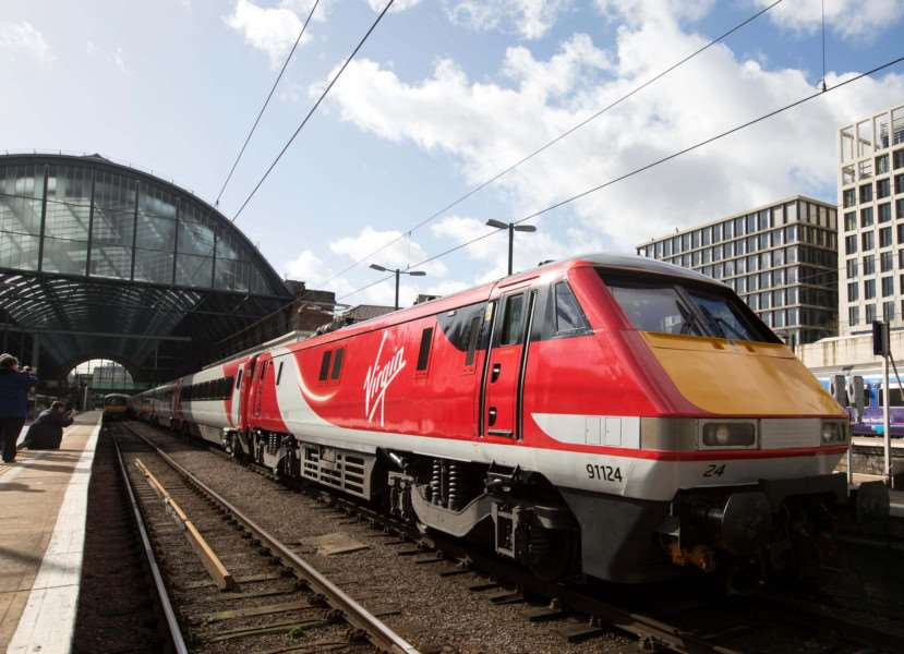 The first Virgin East Coast train at the launch of Virgin Trains East Coast at London's King's Cross station. Photo: David Parry/PA Wire EMN-150303-144918001