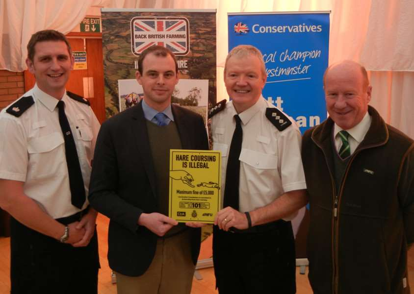 GALILEO STATS: Supt Paul Timmins, Matt Warman MP, Chief Inspector Jim Tyner and the NFU's Gordon Corner.