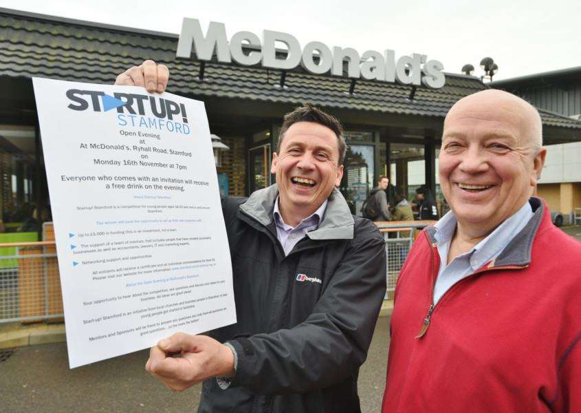 McDonald's Stamford owner Matt Jarrett with Martin Fox from Startup, Stamford. EMN-150411-165741009