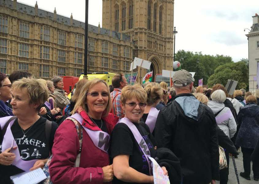 Waspi demonstration outside Westminster, London