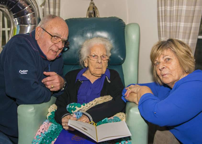Edna Fessey pictured with son Bruce and daughter Tanya Collingwood on her 107th birthday