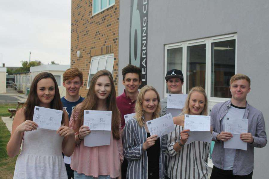 Bourne Academy students celebrate their A-Level results. ANL-160818-130654001