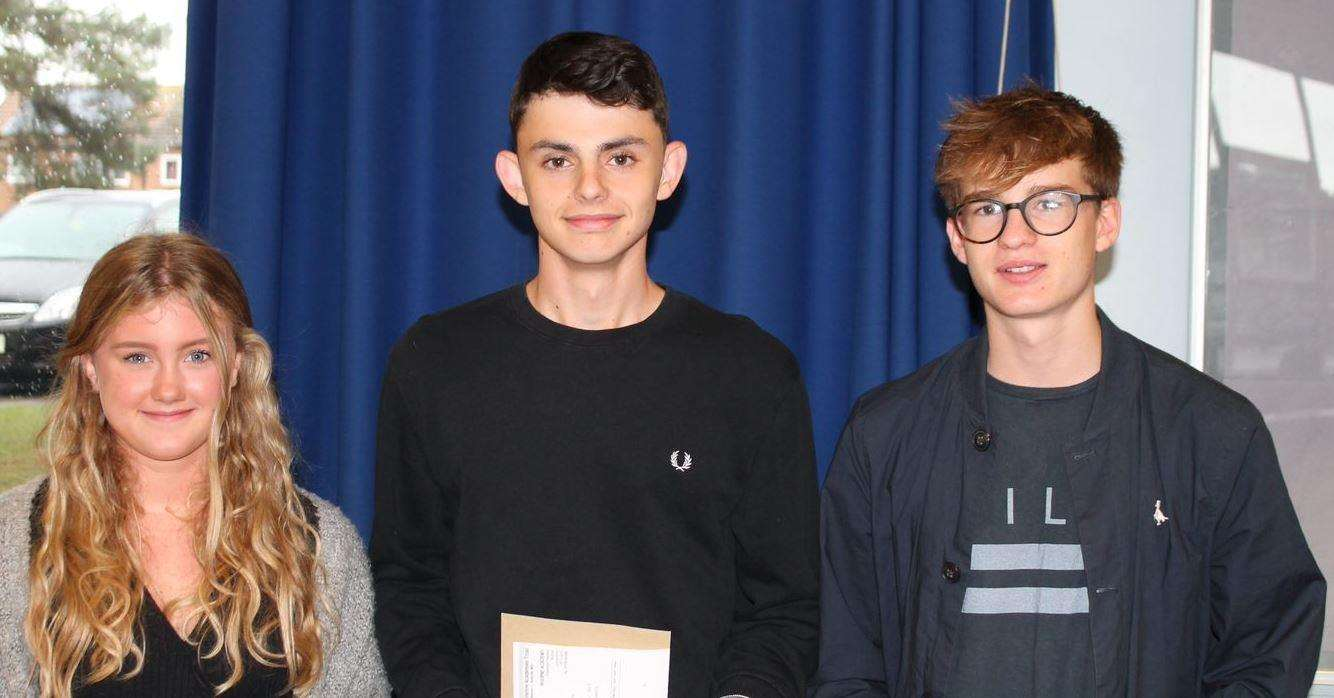 Bourne Academy students get their GCSE results: Lauren Baldwin, Max Peverell, Alex Henson (3752430)