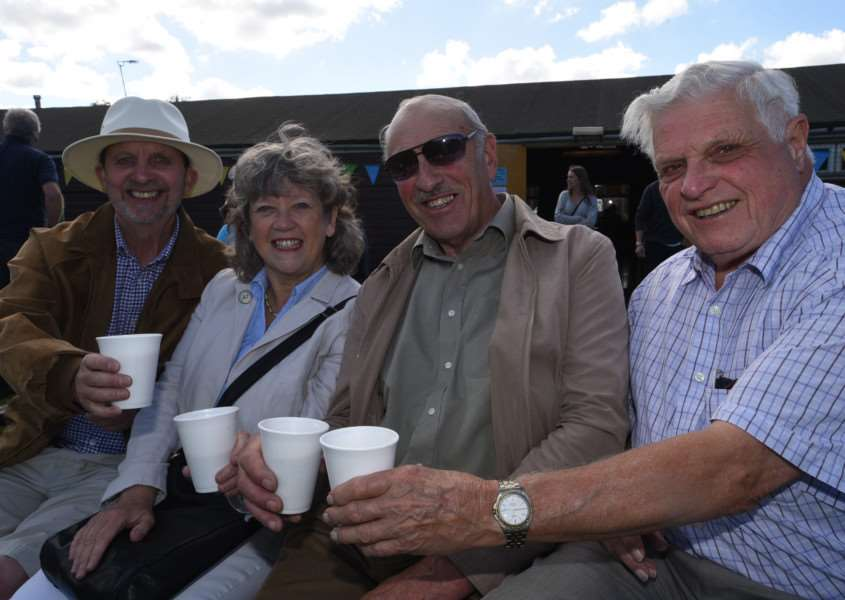 Ketton village fete. Visitots to the fete Chris and Christine Brandon-Cox, John Seed and Brian Cox EMN-150927-170537009