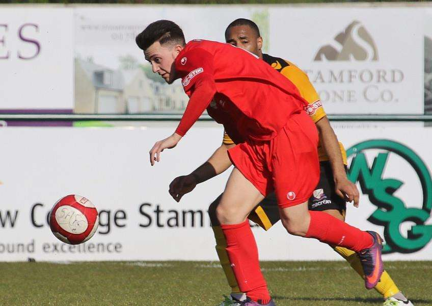 Action from Stamford AFC v Basford United. Photo: Geoff Atton