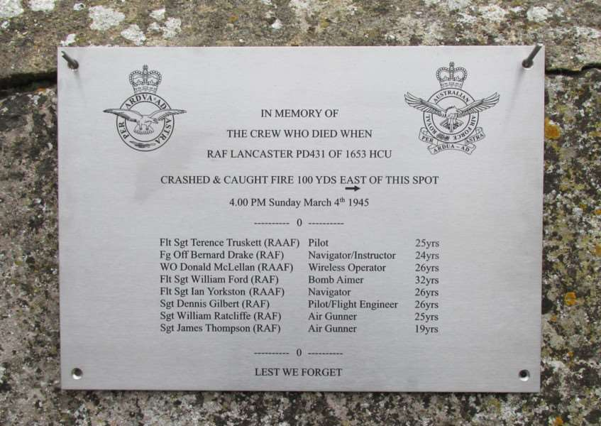 A memorial service was held at St Mary the Virgin Church in Edith Weston on Friday 4 March 2016 to remember the three Australian and five British aircrew who died when Lancaster B Mk III PD 431 crashed into Edith Weston Village on 4 March 1945. EMN-160703-132101001