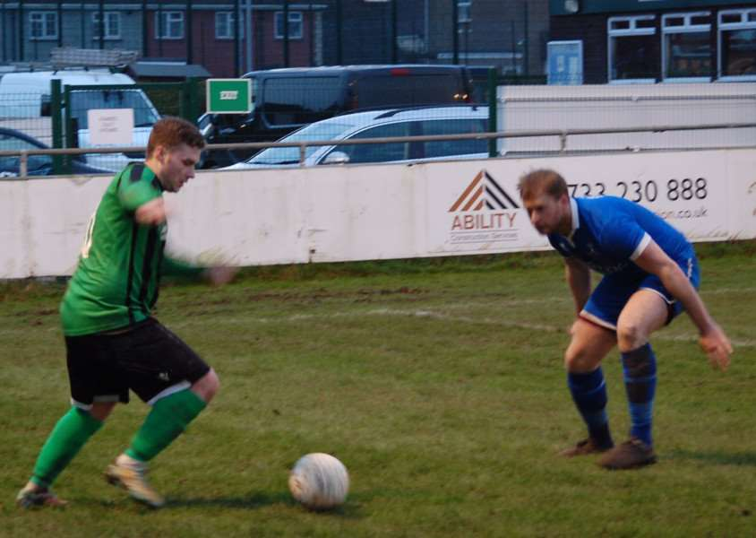 Action from Blackstones' 2-2 draw with Potton United. Photo: Martin Davies EMN-160126-094310001