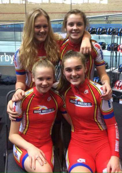 YOUNG FLIERS: Bourne Wheelers successful under-16 squad, (back row) Jessica Woodworth and Lizzie Catlow (front) Georgia Bullard and Alice Standish. Photo supplied.