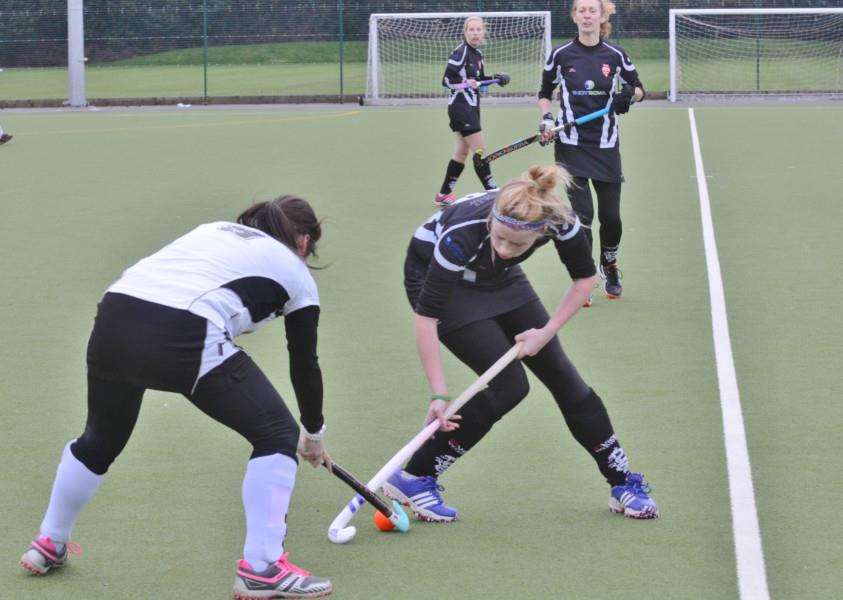 Hockey action from Bourne Deeping Dragons ladies v Leadenham at AMVC EMN-160901-192559009