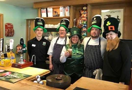 The Burghley Park catering team get in the mood for St Patricks Day. (7932987)