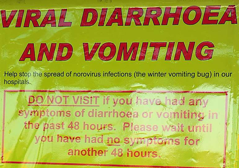 Warning notice about the Winter Vomiting Bug.