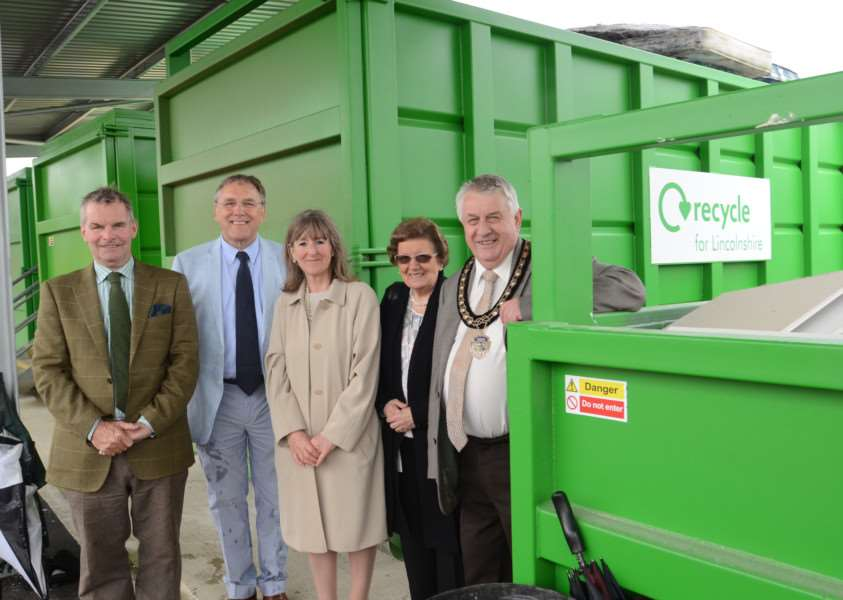 Couns Martin Hill, Leader of Lincolnshire County Council, Reg Shore, Sue Woolley, county councillor for Bourne Abbey, Cllr Jackie Smith and former Mayor of Bourne, Coun Philip Knowles, at the opening of the new Bourne Household Waste Recycling Centre in South Fen Road. Photo by David Lowndes. MSMP-10-05-16-DL063. EMN-161005-171757009.