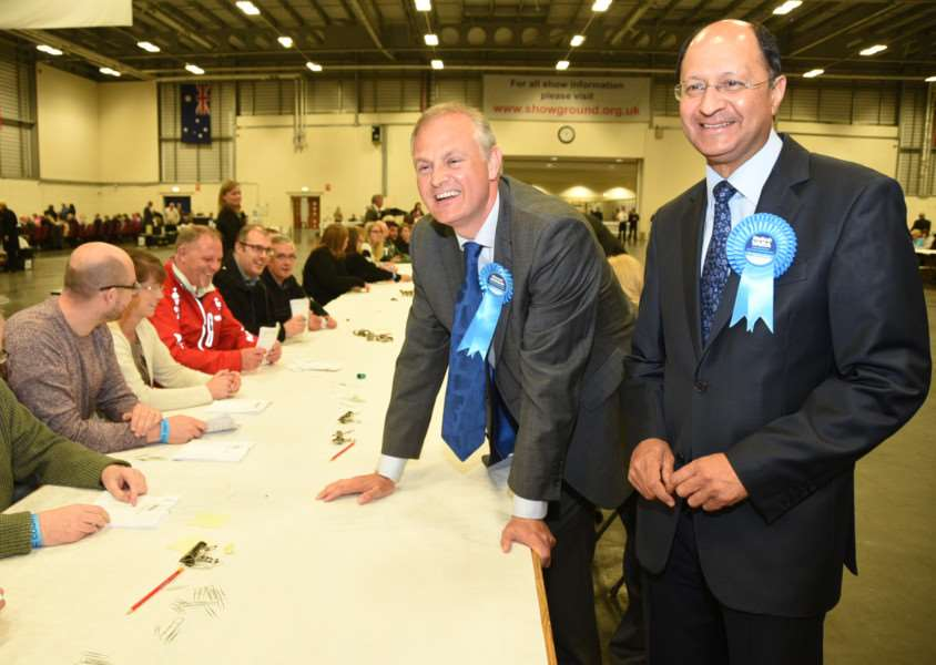 General Election Count 2015. Stewart Jackson and Shailesh Vara EMN-150805-013327009