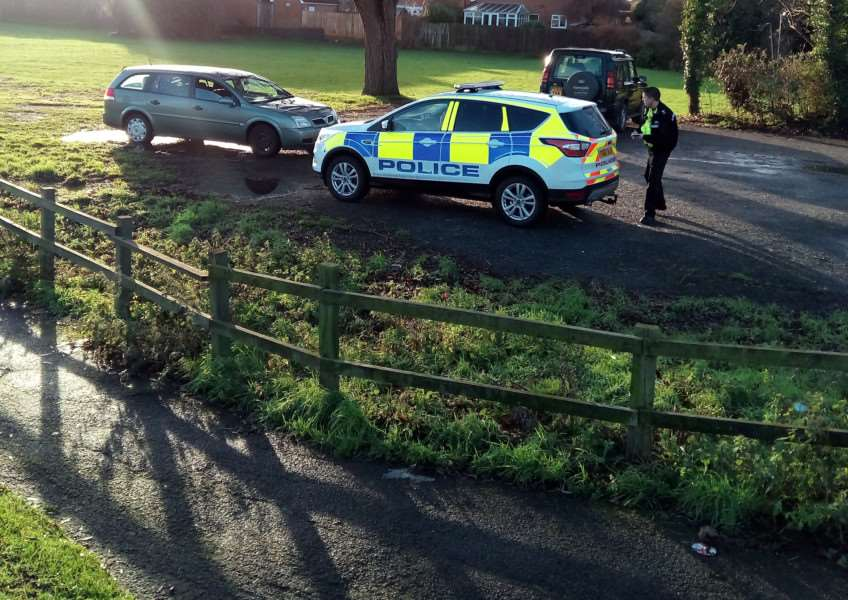 Police check a vehicle with possible links to hare coursing in Northborough, near Market Deeping.