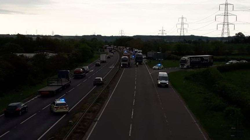 Two lorries involved in a crash on the A1 at Grantham. (10869900)