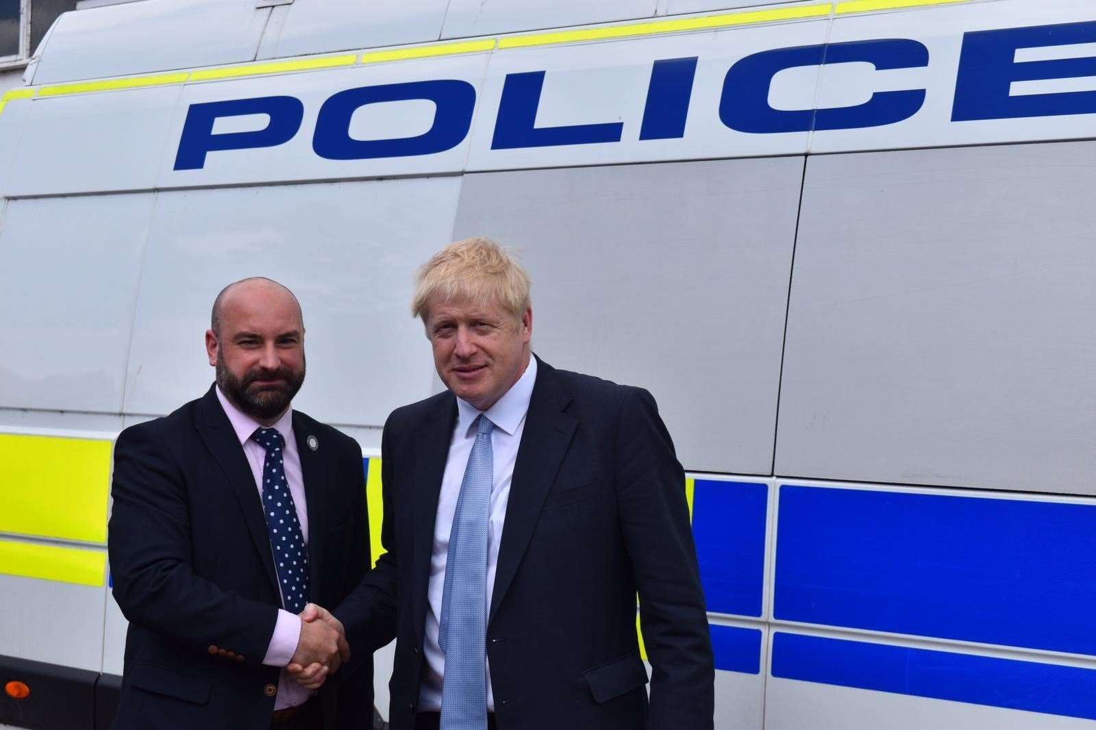 Police and Crime Commissioner Marc Jones with Boris Johnson