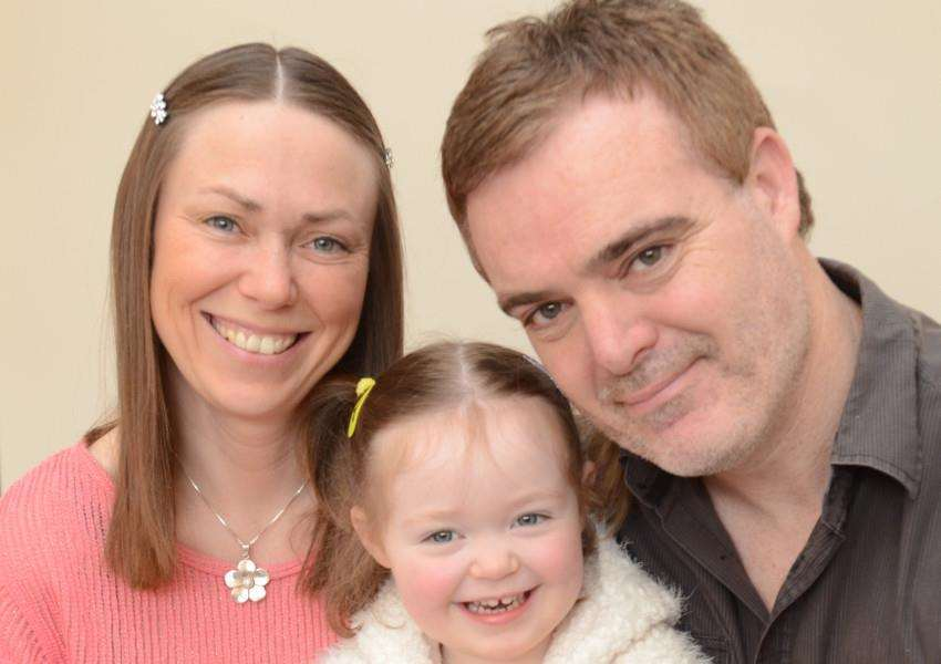 Darren Calpin with daughter Ellie Calpin (2) and partner Sally Prentice. He has written a book around his partners pregnancy EMN-160305-133318009