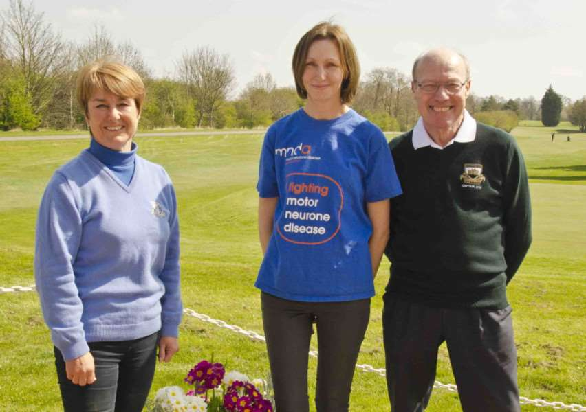 Gill Bedford (Ladies Captain), Ellen Chisholm (MNDA) and Dave Devlin (Club Captain) at the Fundraising Coffee Morning EMN-150430-105811001