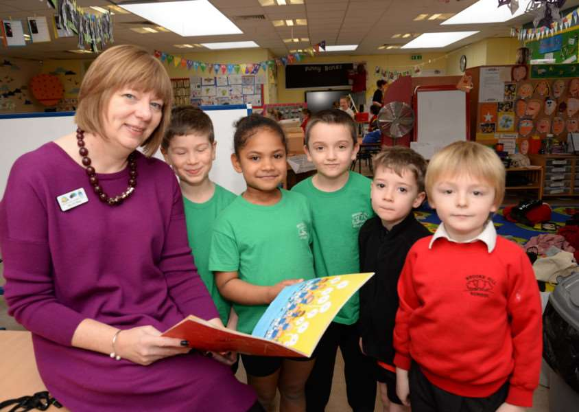 Executive headteacher Sharon Milner with some of her pupils