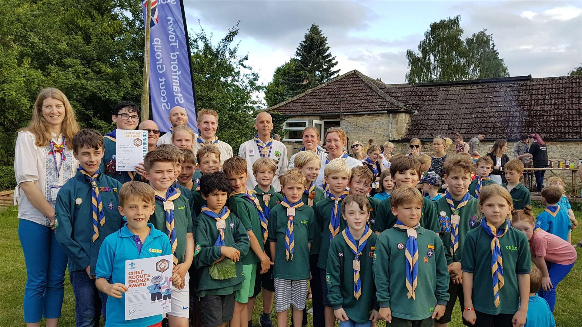 Beavers, cubs and Scouts who have attained their bronze, silver and gold Chief Scout Awards in the last year with Miranda Rock and the leaders who have supported them
