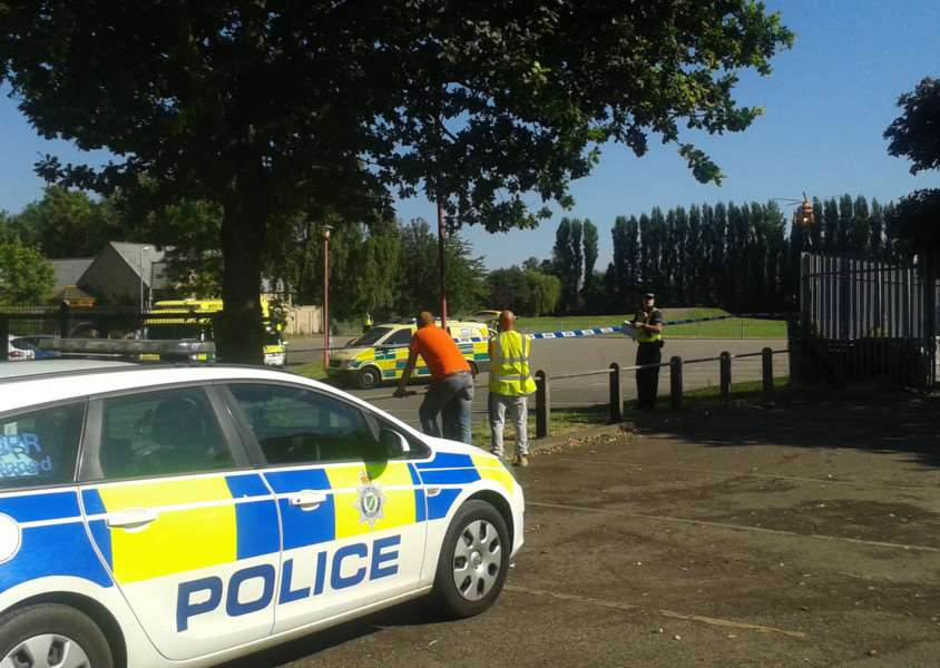 Police at Spalding's Castle Sports Complex this morning. ANL-160719-100651001