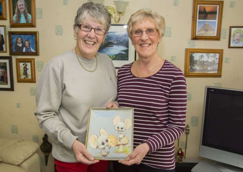 Freda Fisher, left, and Christine Woods with their 40 year old birthday card. Photos: Lee Hellwing