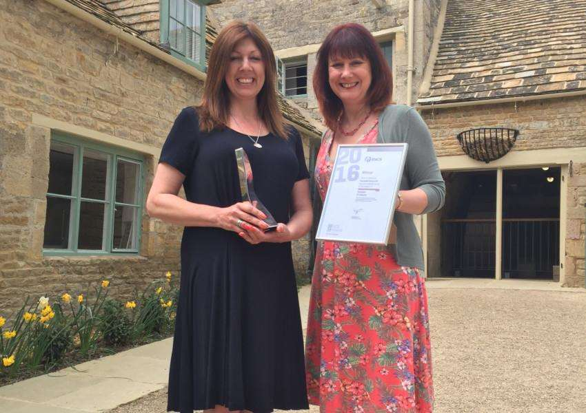 Mill Project Officer Jane Harrison and Learning and Interpretation Officer Nikki Cherry show off their awards
