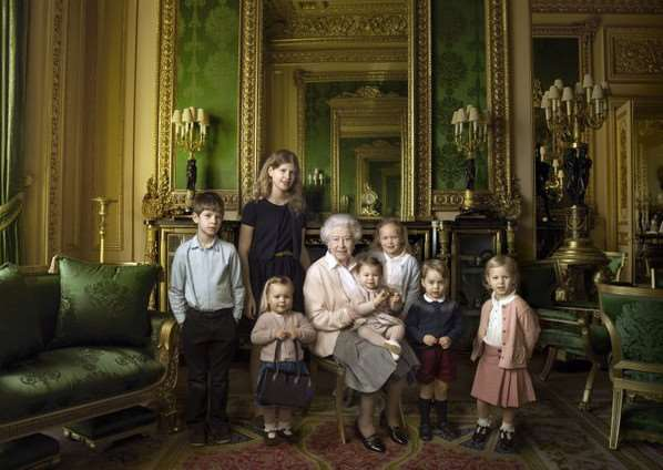 The Queen surrounded by her five great-grandchildren