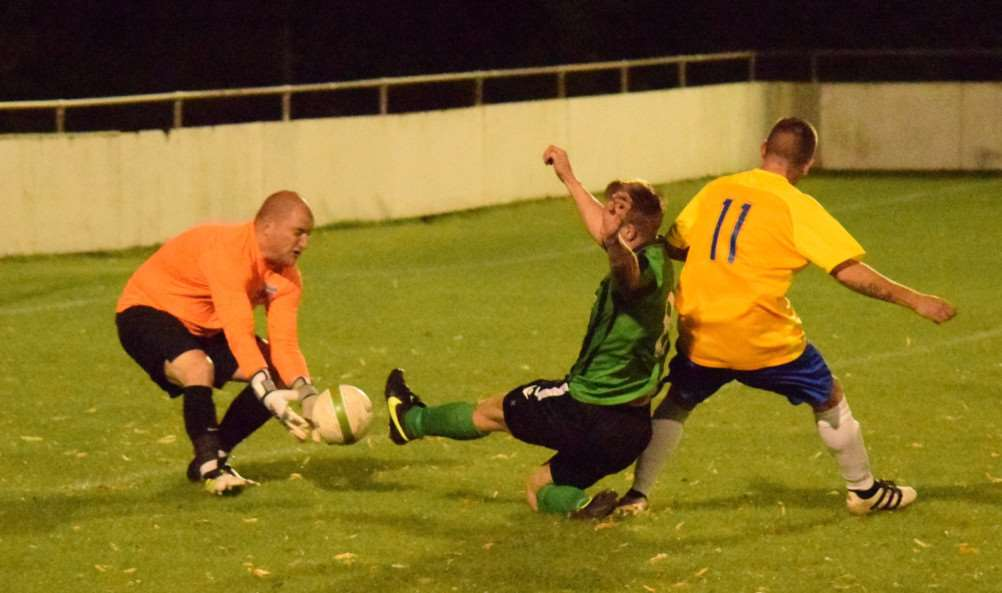 Danny Barker is denied by Pinchbeck goalkeeper Ricky Lovelace on Wednesday night.