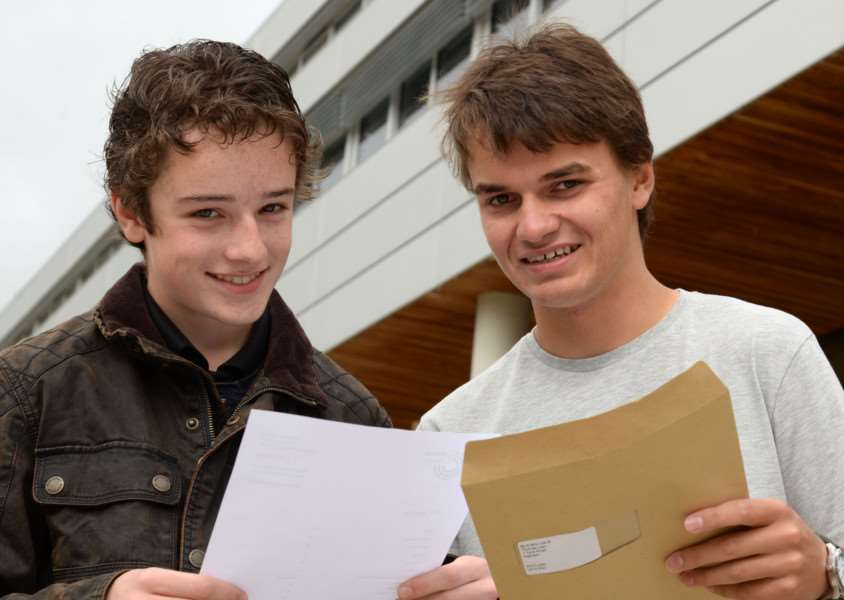 GCSE results day at Catmose College, Oakham. Talek Semmens (5A*,4A),Tom Law (3A*,6A). Photo: MSMP-20-08-15aw008 EMN-150820-114426001