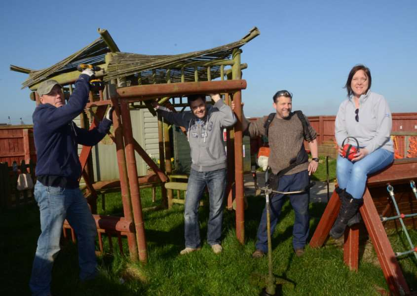 Deeping Round Table members at Langtoft Pre School giving it a makeover. Pictured are Jez Willoughby, Darren Scott, Dean Buggs and Trayci Morris EMN-150418-172700009