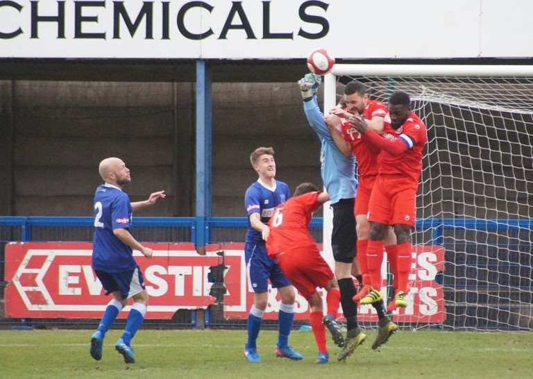 Action from Stamford AFC v Leek Town. Photo: Leek Town website
