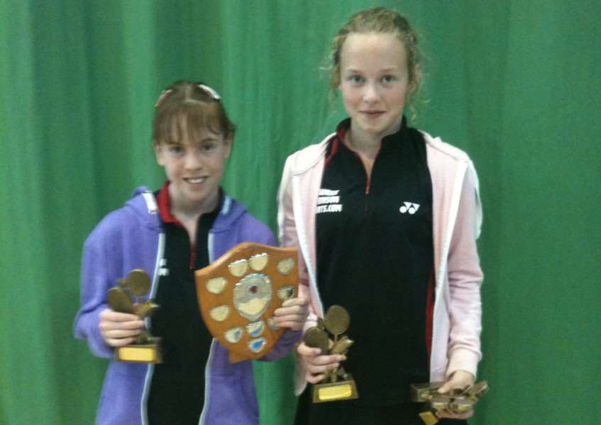 DOUBLES TOPS: Megan Hassall (right) and Megan Dibble capture the Lincolnshire under-13 girls doubles badminton title in Lincoln.
