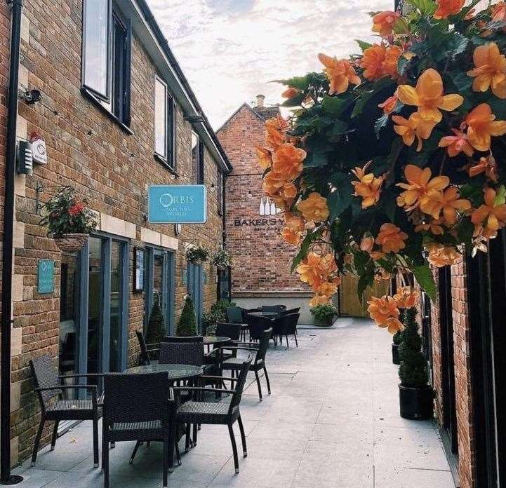 The outside dining area at Orbis in Oakham