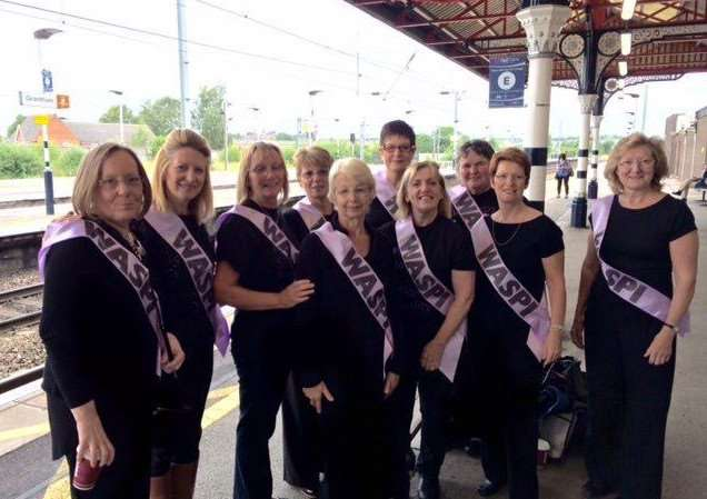 Waspi members gather at Grantham railway station ahead of demonstration outside Westminster, London