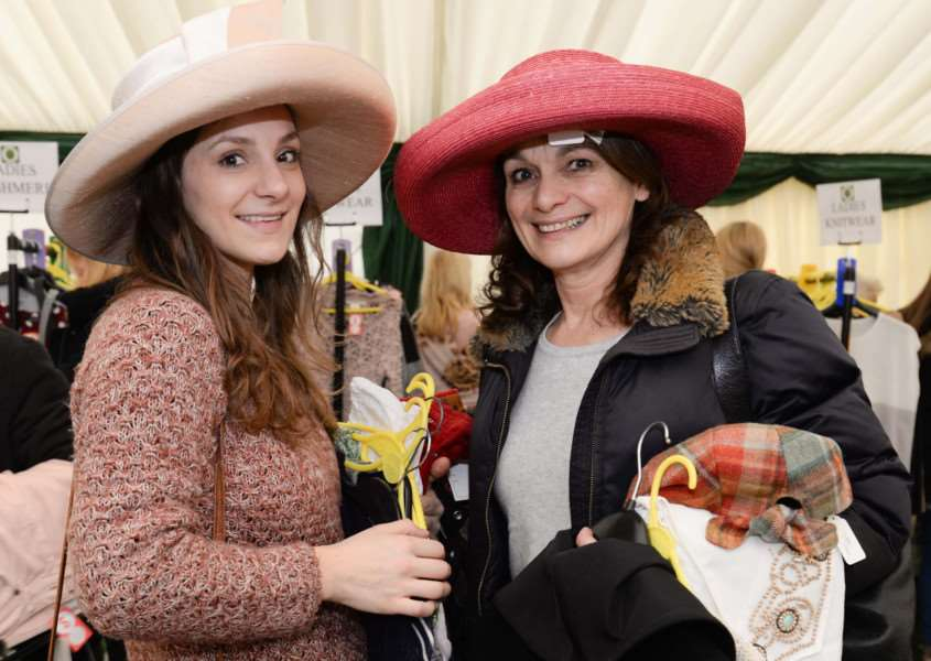 Designer clothes sale in aid of For Rutland In Rutland at Barnsdale Lodge. Debbie Sorter and Diana Nicols try out the hats. Photo: Alan Walters MSMP-27-02-15-aw005 EMN-150203-112429001