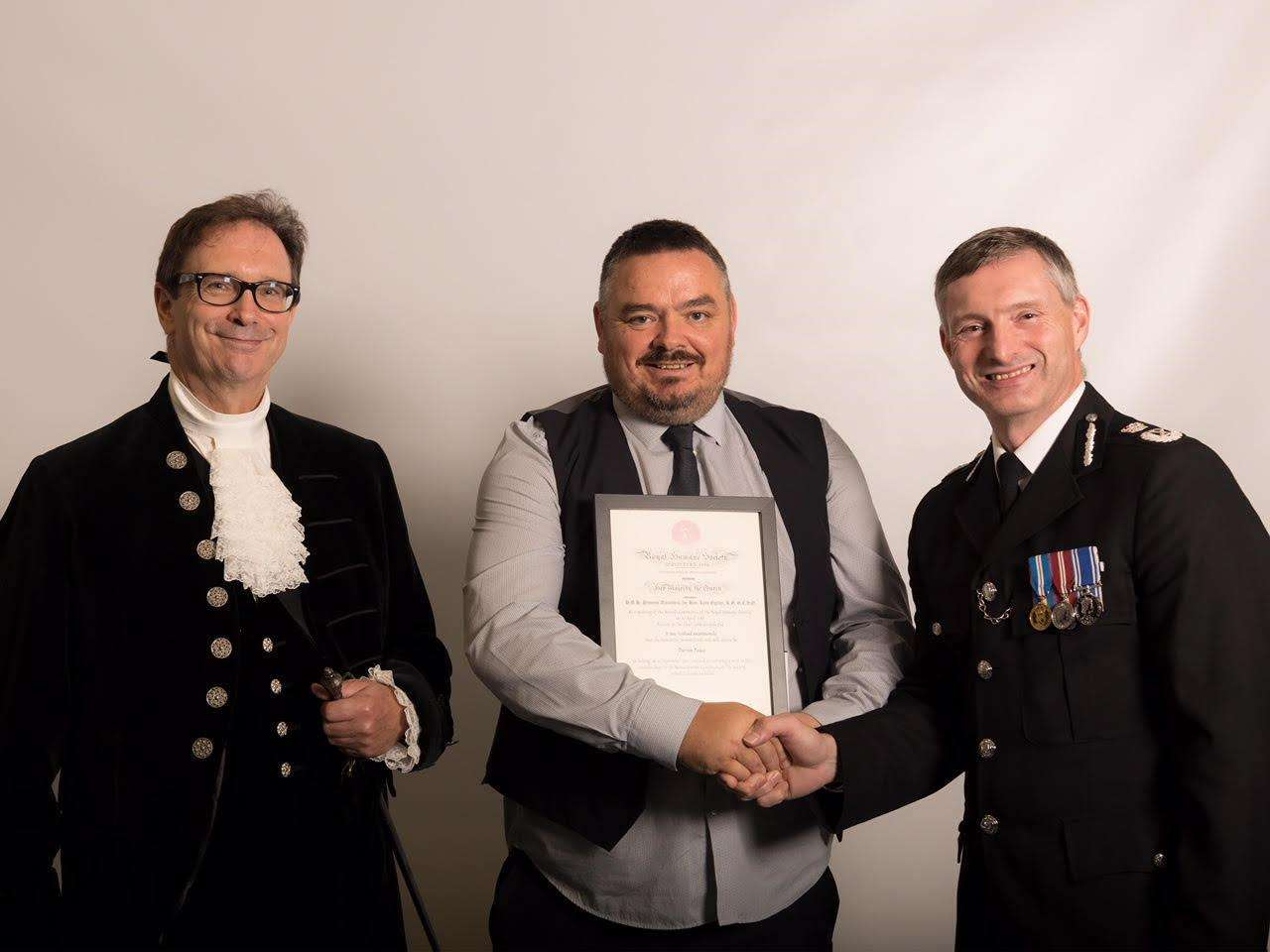 Darren Peace received his award from the High Sheriff of Lincolnshire at a ceremony which was also attended by the Chief Constable of Lincolnshire Police