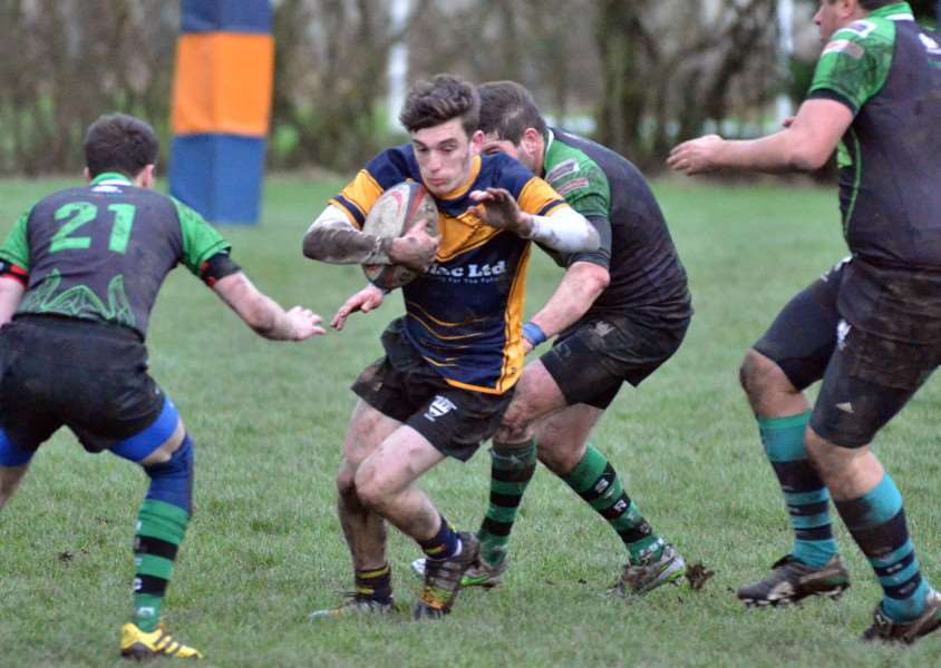 Harley Giullari will be an important factor at scrum half for Bourne when they face Queens in the quarter finals of the Midlands Junior Vase at Milking Nook Drove on Saturday. Photo by Tim Wilson.