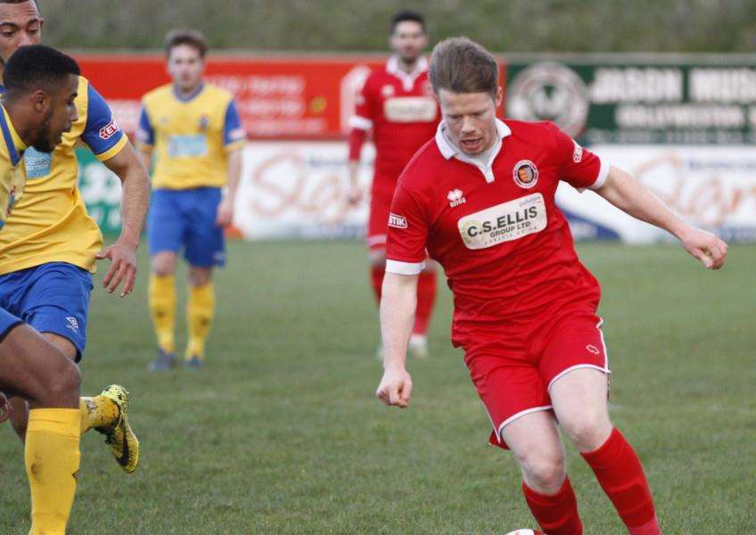 Action from Stamford AFC's 3-2 loss to Colwyn Bay. Photo: Geoff Atton EMN-160302-124129001